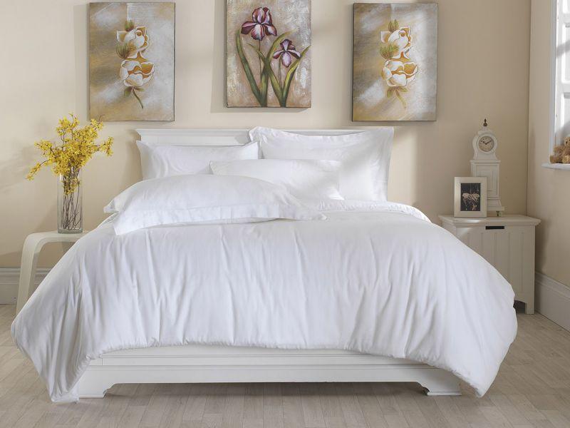 Premium White Linen Range - 300 TC 100% Cotton Duvet Cover in White