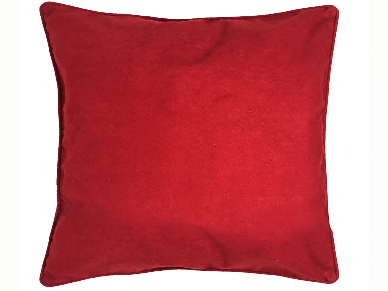 Filled Piped Edge Red Suede Cushion | 45cm x 45cm