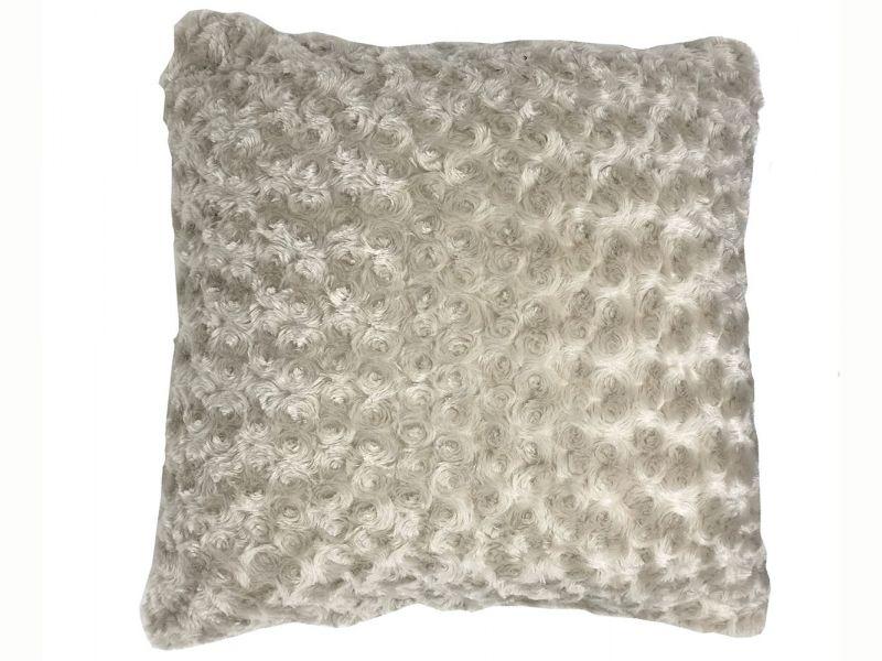 Filled Grey Swirl Faux Fur Cushion | 45cm x 45cm