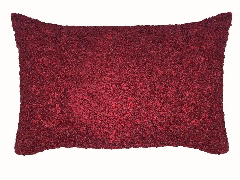 Ruby Red Ribbons Boudoir Cushion Cover | 50cm x 30cm