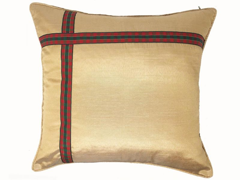 Gold Christmas Ribbon Cushion Cover | 43cm x 43cm