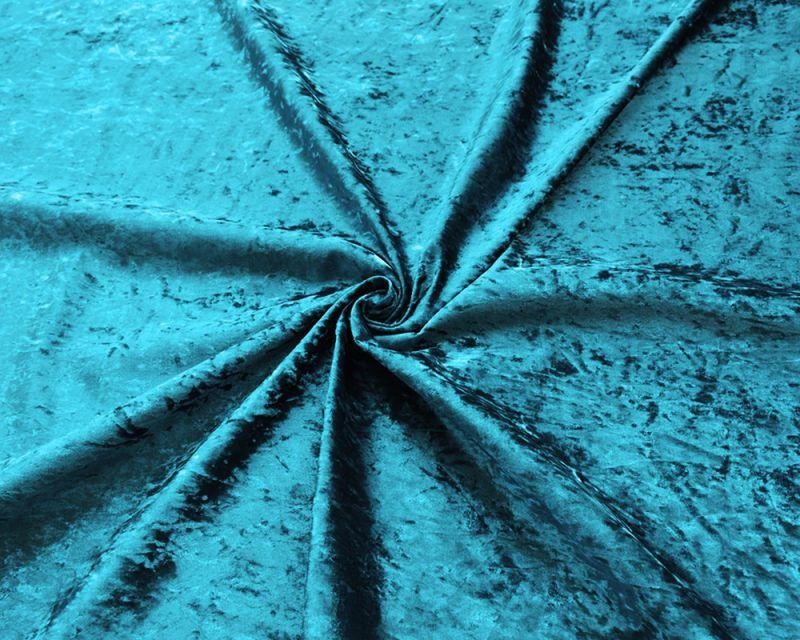 Crushed Velvet Fabric - Aqua Blue