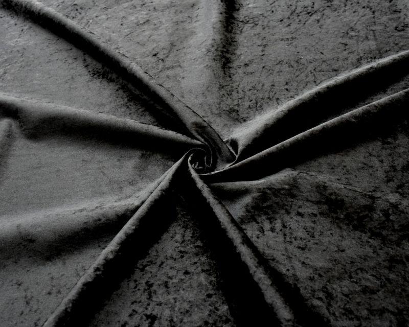 Crushed Velvet Fabric - Black