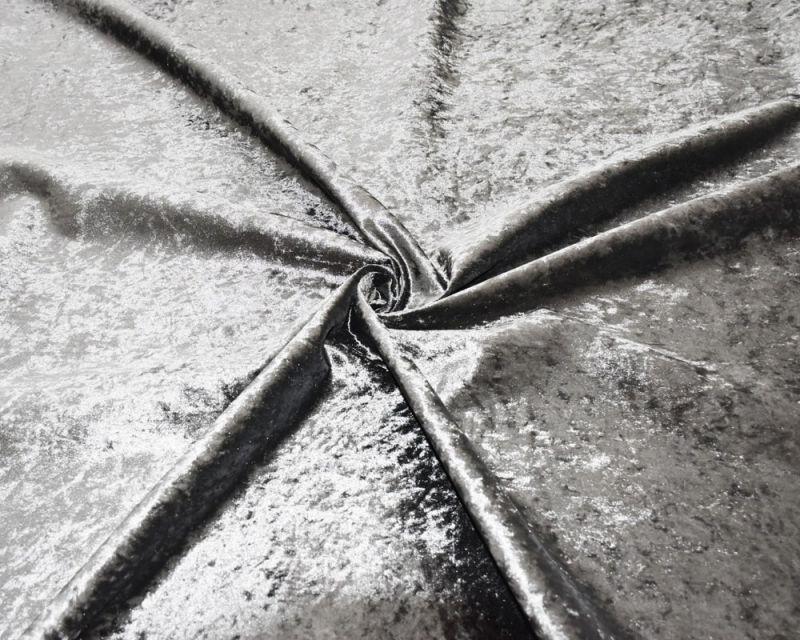 Crushed Velvet Fabric - Silver