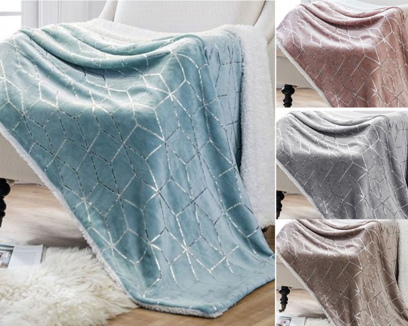 Foil Graphic Geometric Sherpa Fleece Blanket