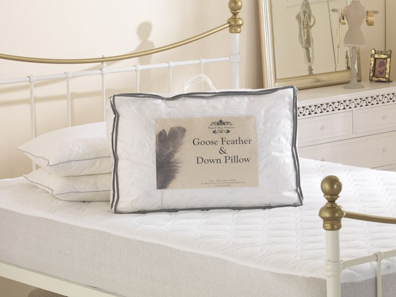 White Goose Feather and Down Cotton Cover Pillow Pair