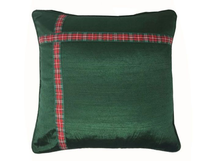 Green Christmas Ribbon Cushion Cover | 43cm x 43cm