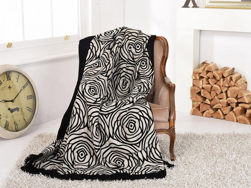 Black Double Layered Rose Embroidered Throw / Blanket | 170cm x 225cm