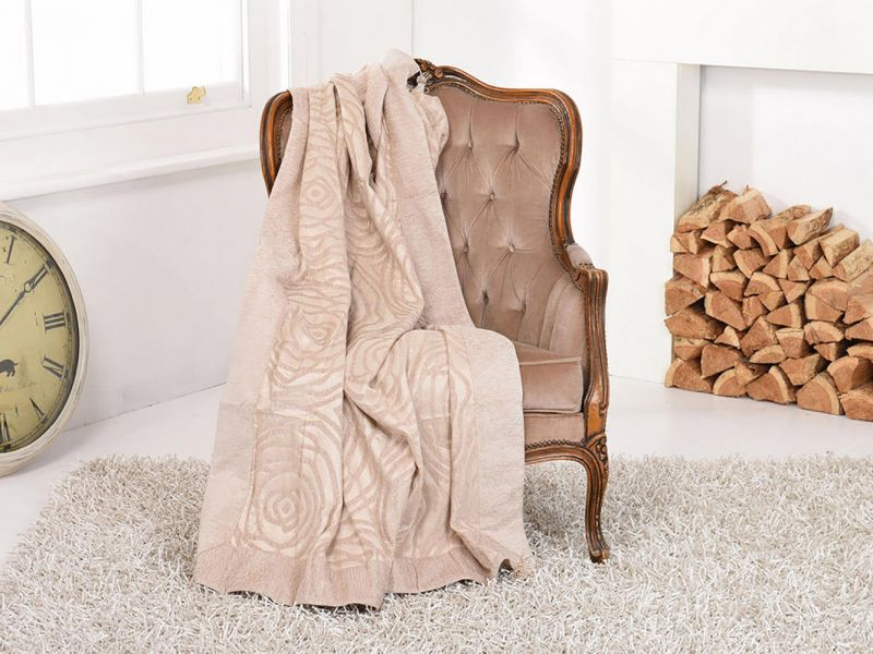 Cream Double Layered Rose Embroidered Throw / Blanket | 170cm x 225cm