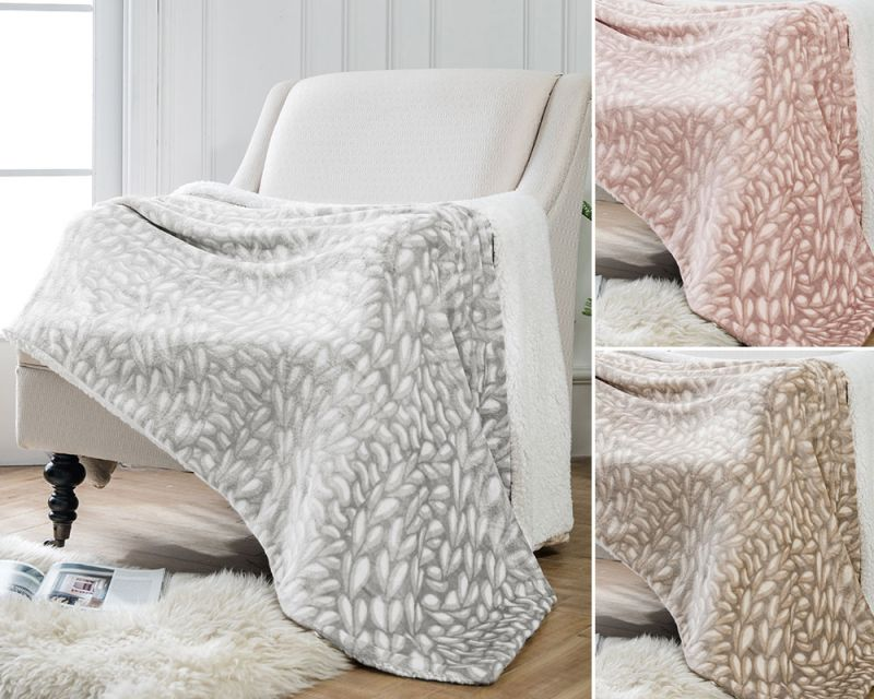 Cable Knit Printed Throw