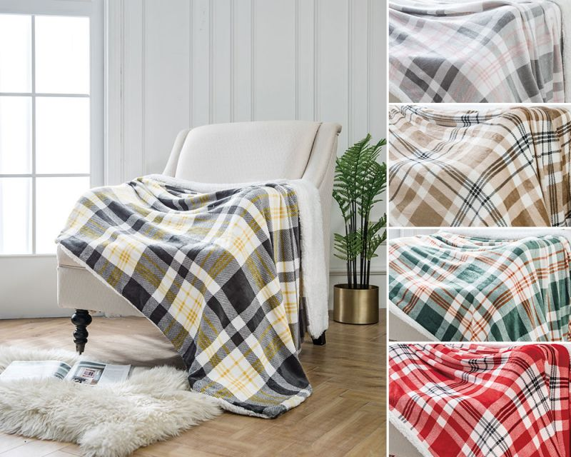 Highland Check Print Sherpa Fleece Throw