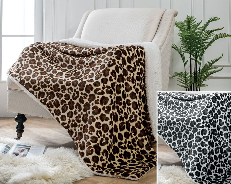 Leopard Print Throws with Sherpa Fleece