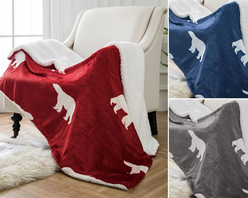 Polar Bear Throw with Sherpa Fleece