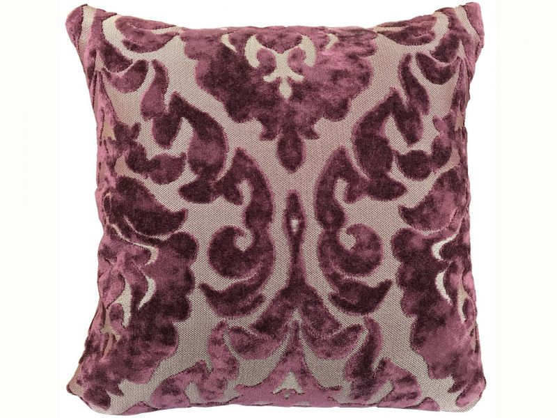 Purple Damask Cushion Cover with Inner Pad | 43cm x 43cm