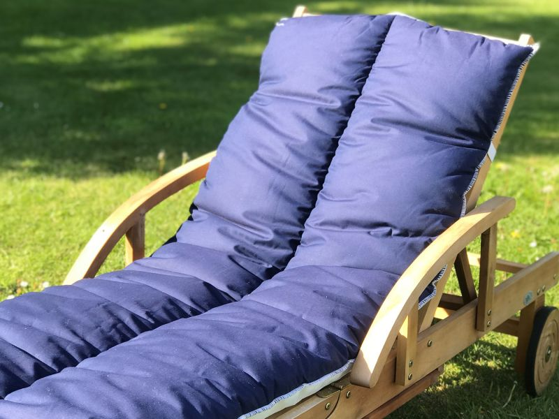 Sun Lounger Topper Cushion Pad | 60cm x 190cm - Navy Blue