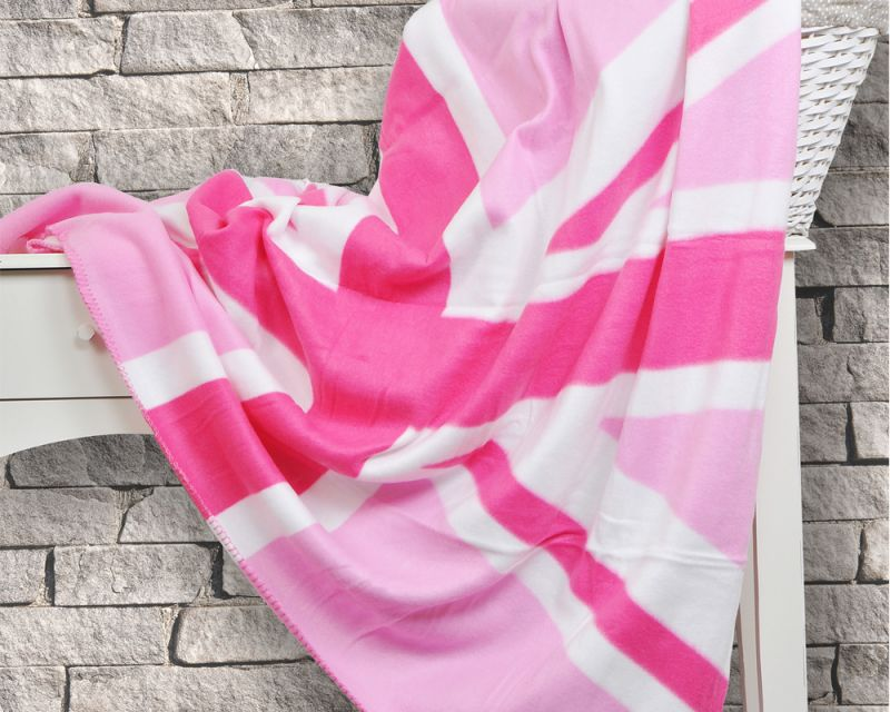 Super Soft Fleece British Union Jack Flag Throw Blanket - Pink | 127cm x 152cm