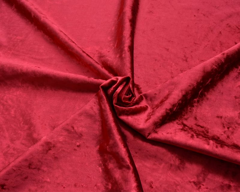 Crushed Velvet Fabric - Ruby Red