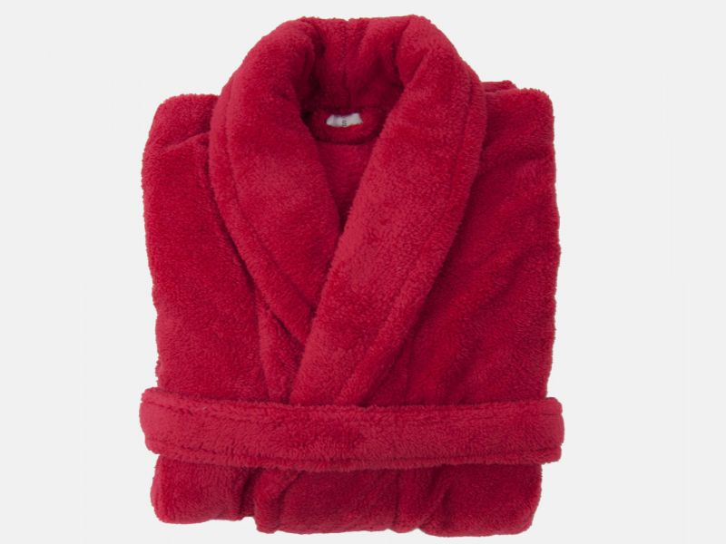 Red Super Soft Unisex Plush Bathrobe - Small