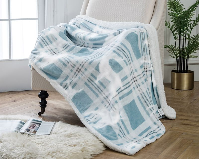 Tartan Stag Throw with Sherpa Lining - Duck Egg